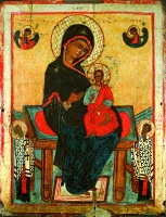 Mother of God enthroned with attending Sts. Nicholas and Clement