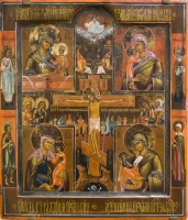 Crucifixion with four standing saints and four icons of the Holy Virgin